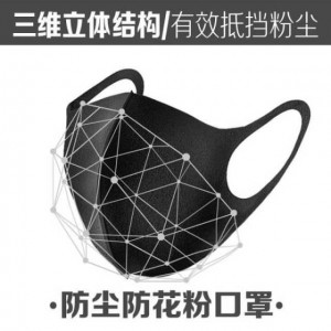 明星同款 日本制 口罩 防尘 透气 可清洗 男女潮款个性韩版 黑色 夏季骑行防花粉 3只装