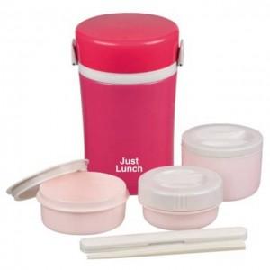日本Just Lunch 保温壶 内含3小碗+筷子 珍珠红粉色 1000mL